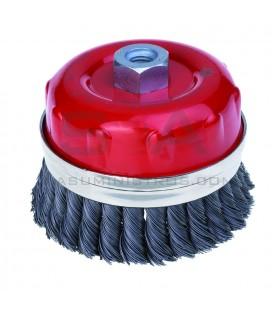 Cepillo TAZA acero trenzado con guarda TTG - JAZ
