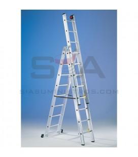 Escalera mecánica de aluminio profesional de tres tramos con cuerda - SVELT E3F